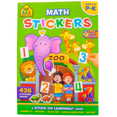 School Zone, Math Stickers Activity Workbook, A Stuck On Learning Book, 72 Pages, Preschool-Grade K