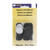 ProMAG, Adhesive Magnetic Dots, Black, 3/4 inches Each, Set of 100