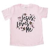 NOTW, Jesus Loves Me, Kid's Short Sleeve T-shirt, Pink, 3T-Youth Large