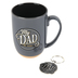 Christian Art Gifts, Proverbs 14:26 My Dad My Hero Mug and Keyring Gift Set, Gray, 2 Pieces