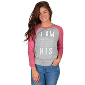 NOTW, I Am His Raglan Sleeve T-Shirt for Women, Heather Gray and Mauve