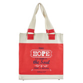 Christian Art Gifts, Hebrews 6:19, Hope, Canvas Tote, Natural and Red