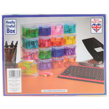 Really Useful Box, 16-Box Organizer, Multi-Colored Transparent, 11 x 8.8 x 2.56 Inches, 17 Pieces