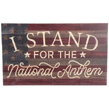 I Stand For The National Anthem Wall Decor, Wood, Patriotic, 9 x 15 x 11/16 inches