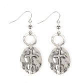 Set Free, Round Medallion with Cross Dangle Earrings, Zinc Alloy, Silver