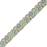 Isabella Collection, Die-Cut Border Trimmer, 38 Feet, Multi-Colored Geo-Floral Kaleidoscope