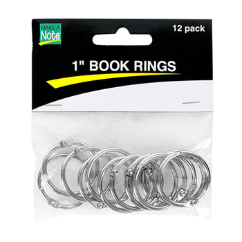 Make A Note, 1-Inch Book Rings, Silver Steel, Pack of 12