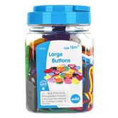 Learning Advantage, Large Buttons-Mini Jar, Assorted Colors, 60 Pieces, Ages 18 Months and Older
