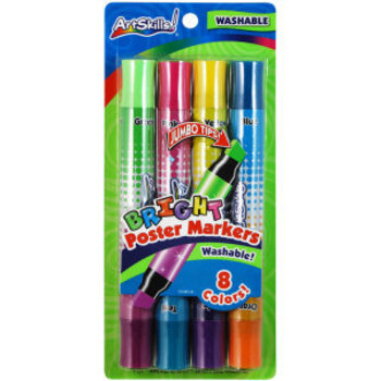 ArtSkills, Washable Poster Markers, Chisel Tip, Neon Colors, Pack of 8