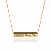 James Lawrence Company, Daughter I Love You More Pendant Necklace with Stones, Gold
