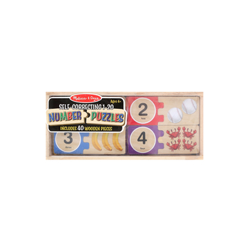 Melissa & Doug, Wooden Self Correcting Number Puzzle 1-20, Ages 4 to 6 Years Old, 40 Pieces