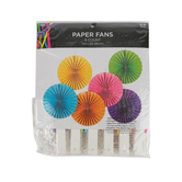 Brother Sister Design Studio, Paper Fan Party Decor, Assorted Colors, 14 Inches, 6 Fans
