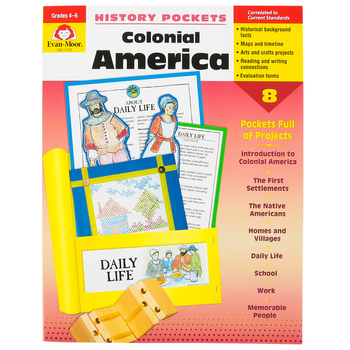 Evan-Moor, History Pockets Colonial America Teacher Reproducible, Paperback, 96 Pages, Grades 4-6