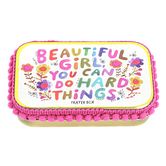 Natural Life, Beautiful Girl You Can Do Hard Things Prayer Box, Tin, 3 3/4 x 2 1/4 x 1 inches