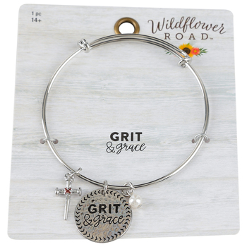 Wildflower Road, Grit & Grace Wire Charm Bracelet, Zinc Alloy, Brass, & Plastic