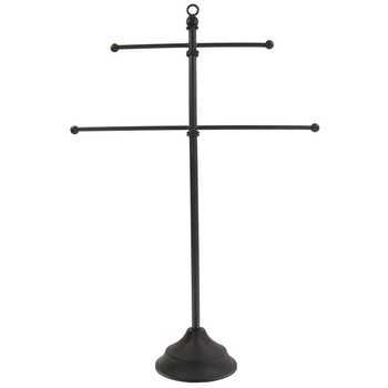 Tall Two Tiered Metal Jewelry Stand, Dark Brown, 18 x 12 inches
