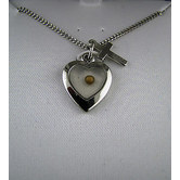H.J. Sherman, Small Heart with Mustard Seed and Cross Pendant Necklace, Sterling Silver, 16 Inch Chain