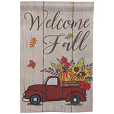 Welcome Fall Truck Garden Flag, 12 x 18 inches