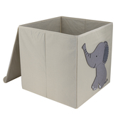 Elephant Cube Storage Bin, Fabric, 13 inches