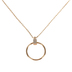 Modern Grace, Psalm 98:4 Circle with Rhinestone Necklace, Zinc Alloy, Gold, 20 inches