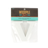 Woodpile Fun, Stand Alone Letter-V, White, 3 Inches, 1 Piece