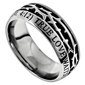Spirit & Truth, Crown of Thorns, True Love Waits, 1 Timothy 4:12, Men's Ring, Stainless Steel, Sizes 8-12