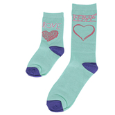 Piero Liventi, Mommy & Me Matching Socks, Learning To Write Love, Teal & Purple, 2 Pairs