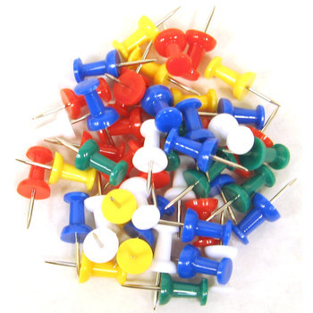 Push Pins, Multi-colored, 75 Count
