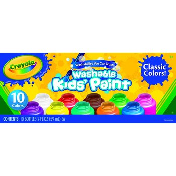 Crayola, Kids' Washable Paints in Assorted Colors, 10 Count
