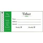 Broadman & Holman, Tither Envelopes, 4 1/4 x 2 1/8 inches, White and Green, Set of 100