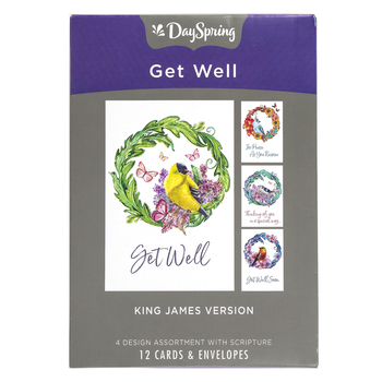 DaySpring, Bird and Wreath Get Well Boxed Cards, 12 Cards with Envelopes