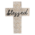 Blessed Engraved Wall Cross, MDF, Light Brown & White, 15 3/4 x 11 3/4 inches