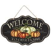 Welcome To Our Home Ornate Pumpkin Wall Plaque, Wood, 13 3/4 x 8 1/2 inches