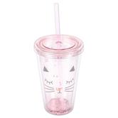 Cat Glitter Tumbler, Plastic, Pink, 16 ounces