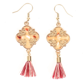 By His Grace, Ornate Acetate Inlay with Tassel Dangle Earrings, Zinc Alloy and Brass, Gold