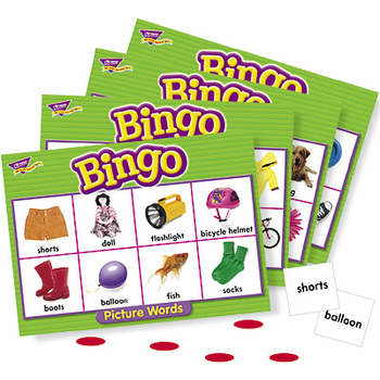 Trend, Picture Words Bingo Game, Ages 5 Years and Older, 3 to 36 Players