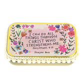 Natural Life, Philippians 4:13 I Can Do All Things Prayer Box, Tin, 3 3/4 x 2 1/4 x 1 inches