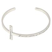 Modern Grace, Philippians 4:13 Horizontal Cross Cuff Bracelet, Zinc Alloy, Silver