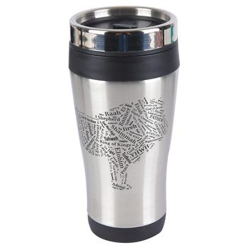 Holy Land Gifts, Names of God Lion of Judah Travel Mug, Black & Silver, 14 ounces