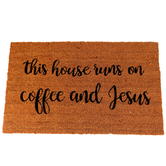 This House Runs On Coffee and Jesus Doormat, Coir, 18 x 30 inches