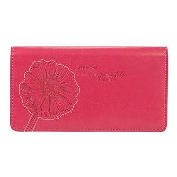 With God All Things Are Possible - Pink Checkbook Cover