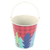 Wander Ridge, Metal Bucket, Small 4 x 4.50-inch, Red Buffalo Check, Blue, Green, Gray, Brown