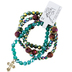 Bella Grace, Multi-Beaded Stretch Bracelets with Cross Charm, Set of 4, Plastic Beads, Multi-colored