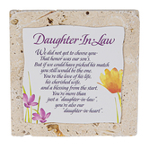 Product Concepts, Daughter-In-Heart Tile Plaque, Natural, 4 x 4 Inches