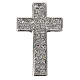 Roman, Inc., Worry Cross Lapel Pin, Metal, Silver, 3/4 x 1/2 inches