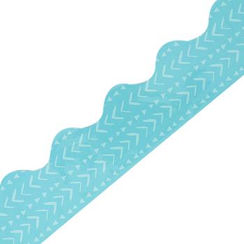 Carson-Dellosa, One World Blue Batik Scalloped Borders, Trimmer, 39 Feet