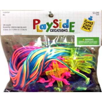 Playside Creations, Plastic Cross Necklace, 2 x 1 1/2 Inches, Assorted Colors, 24 Count