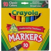 Crayola Broad Line Markers, Classic Colors, Assorted 10 Count, Ages 3 and up