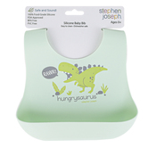 Stephen Joseph, Dinosaur Scoop Bib, Silicone, Light Green, 8 x 10 1/2 inches