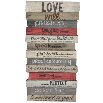 Lighthouse Christian Products, Love Will ... Stacked Wood Plaque, MDF, 5 1/8 x 10 x 1/2 inches